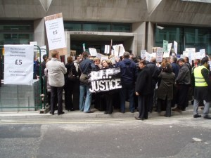 Interpreters protest outside the Ministry of Justice in 2012